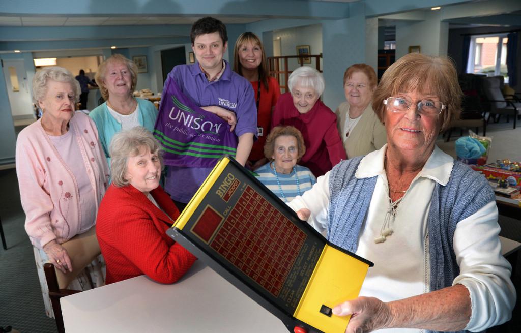 Lucky for some... (pictured from left) Barbara Duffy, Cllr Bateson, Doreen Cook, Unison Ben Greenwood, Scheme Manager Audrey Moran, Margaret Cook, June Walsh, Teresa Walsh and Social Organiser Hilda Shorrock